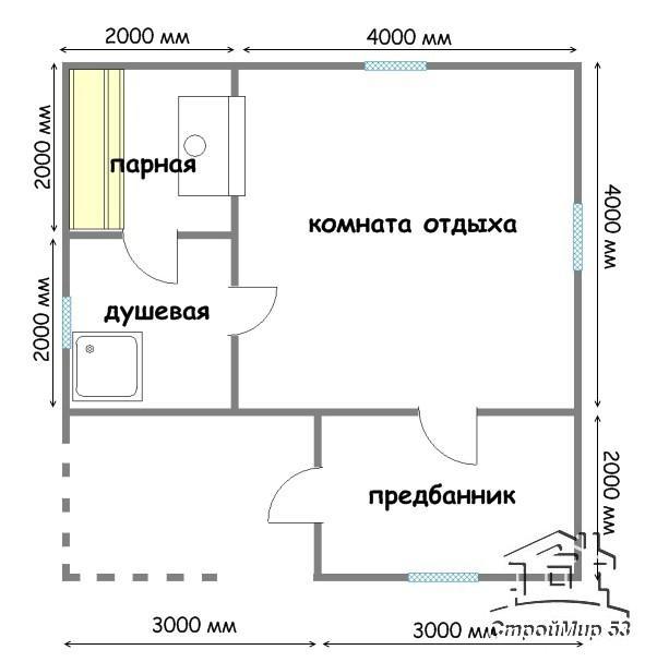 план бани 6х6