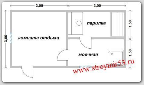 план бани 6х3