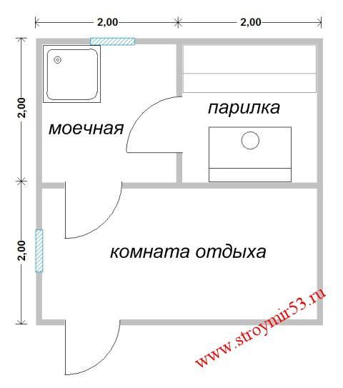 Планировка бани 4х4