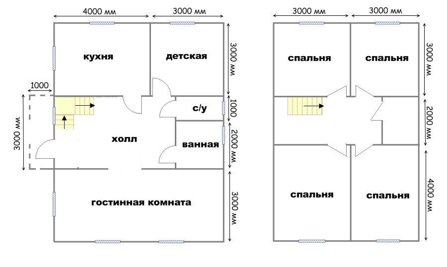 план дома 7х9