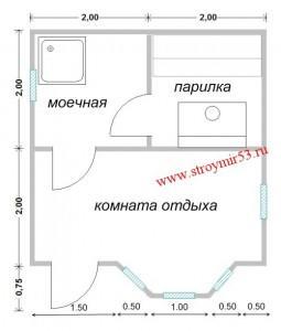 Баня 4х4,75 с эркером, цена, проект бани