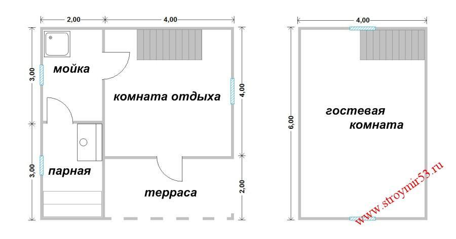баня двухэтажная