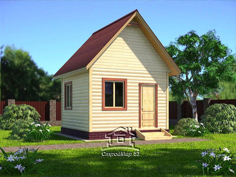 Одноэтажный дом из бруса 4х4 по проекту Д-1
