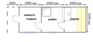 план готовой бани 7х2