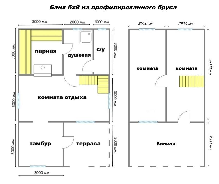 проект бани 6х9