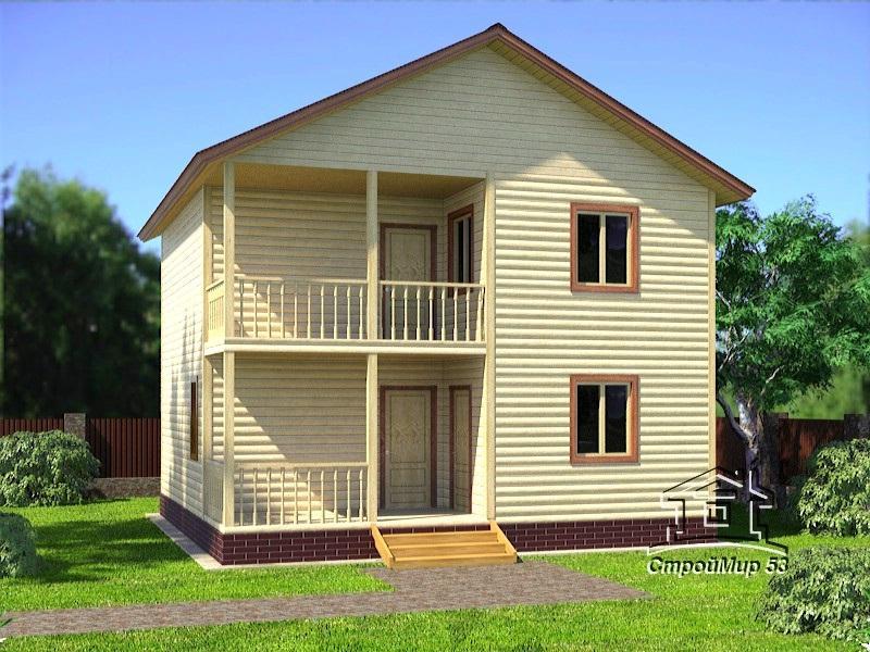 Проект двухэтажного дома 8х8 (проект Д-95)
