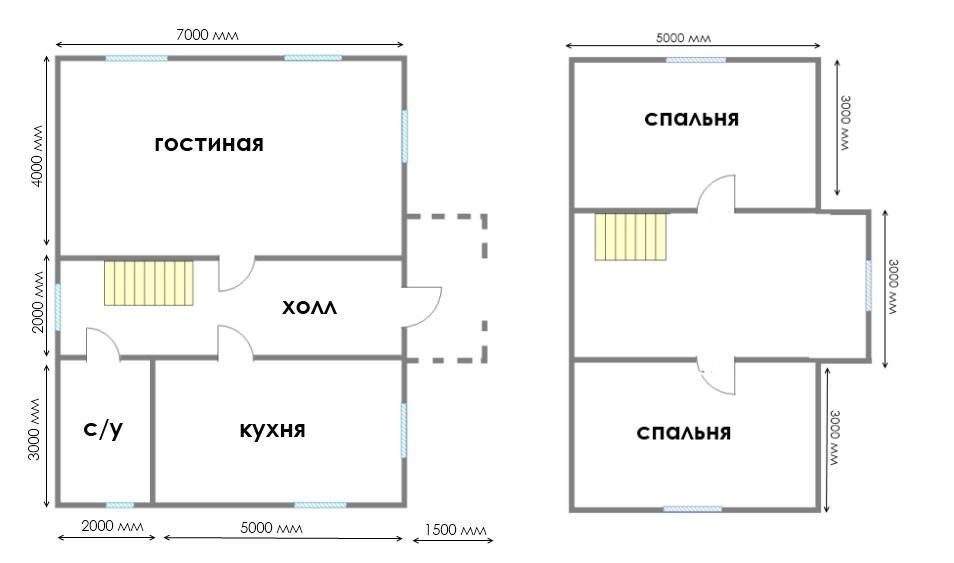 план деревянного дома 7х9