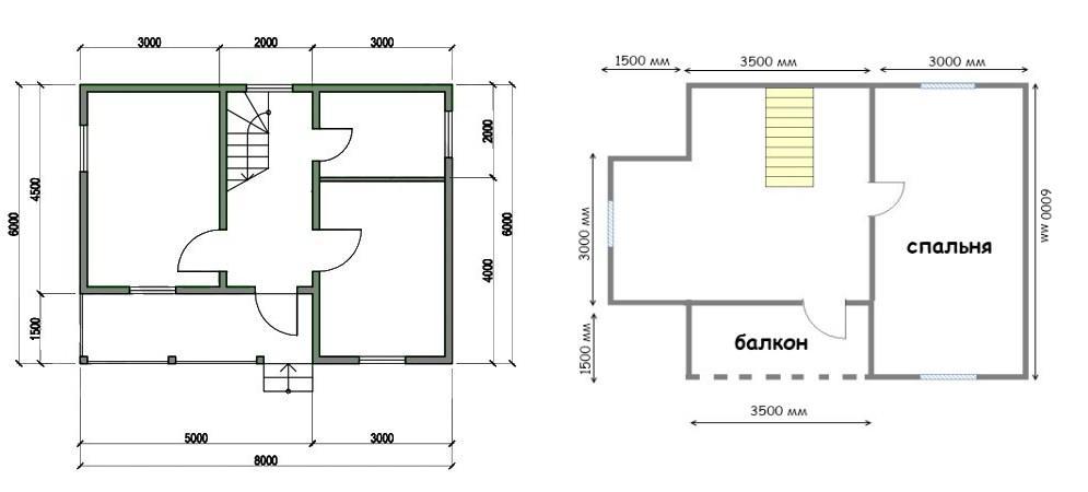 план дома в полтора этажа