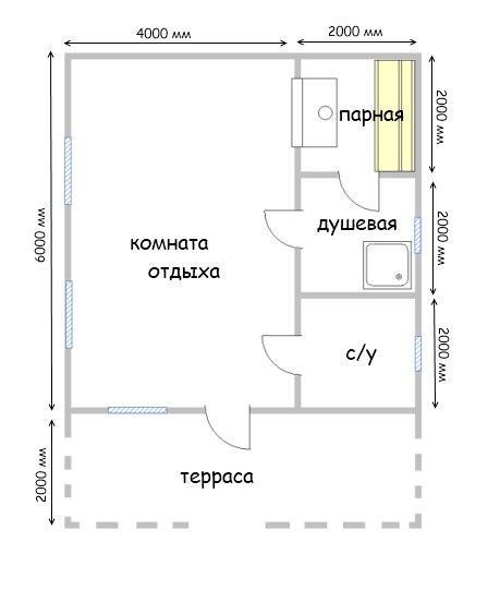 План одноэтажной бани 6х8