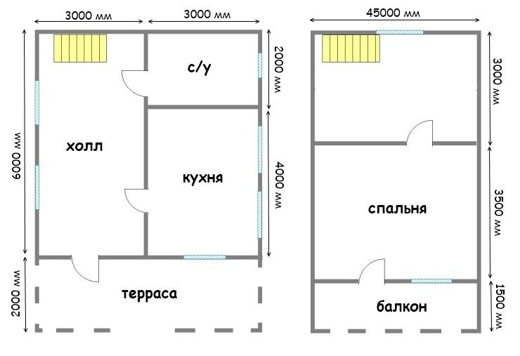 планировка дачного дома 6х8