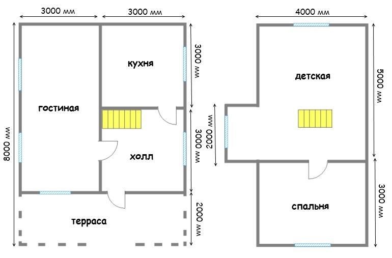 план дом 6х8