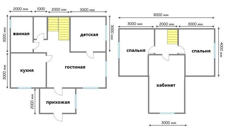 планировка загородного дома 6х8