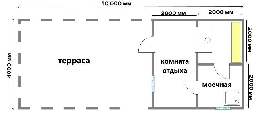 план бани 4х10