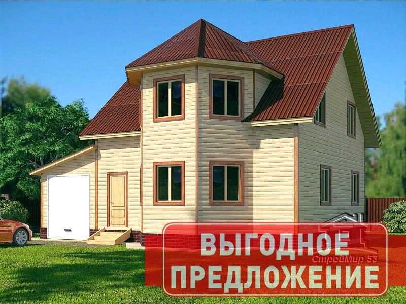 Дом 9х11 в полтора этажа с эркером (проект Д-77)