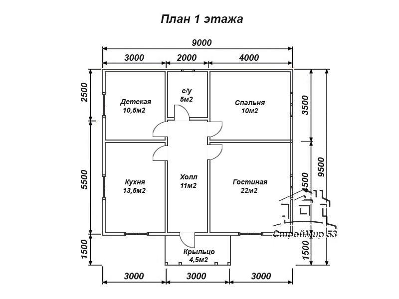 планировка 9х8
