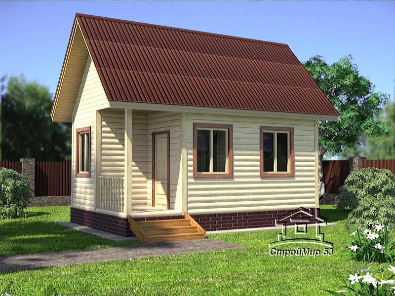 Одноэтажный дом из бруса 4х6 по проекту Д-9