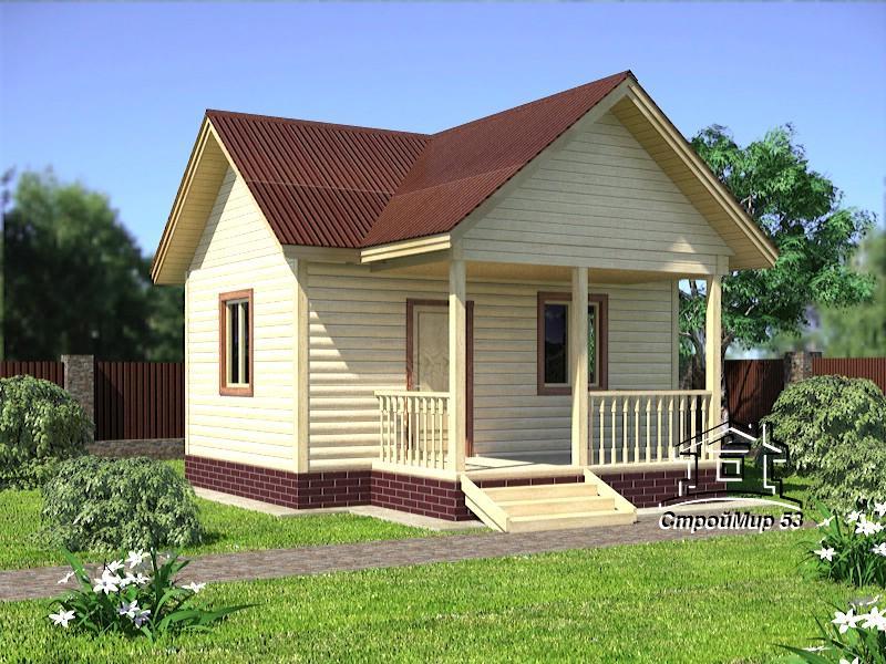 Одноэтажный дом из бруса 6х4 по проекту Д-10