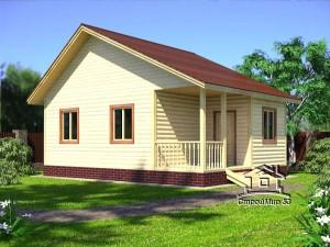 Садовый одноэтажный дом 8х6 из бруса (Д-14)