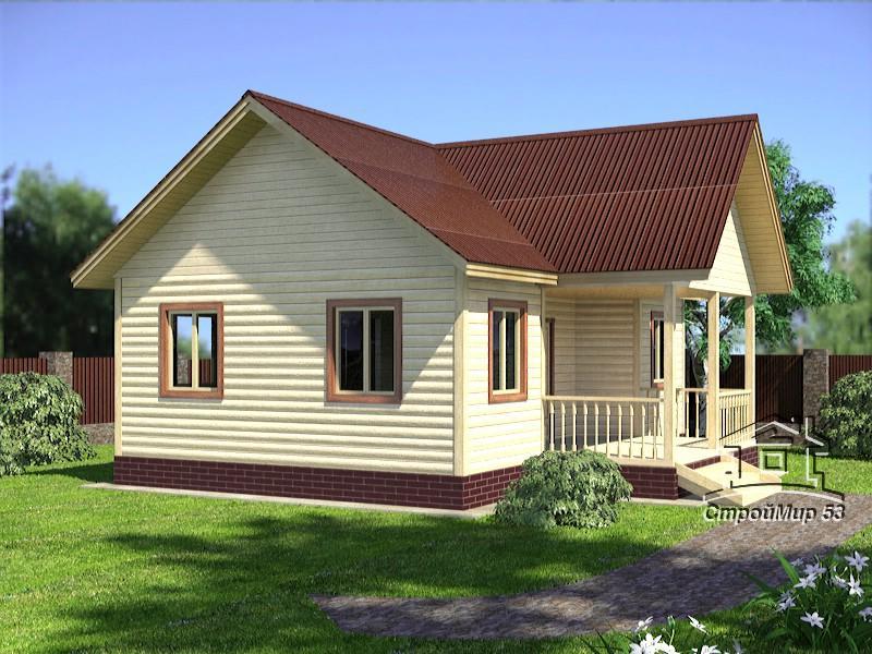 Одноэтажный дом из бруса 9х8 по проекту Д-18