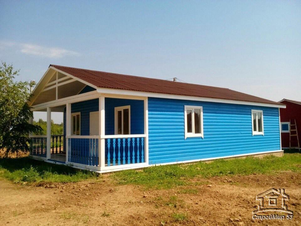 голубой домик из бруса