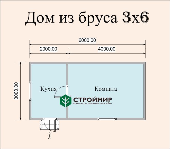 Одноэтажный дом из бруса 6х3 по проекту Д-2