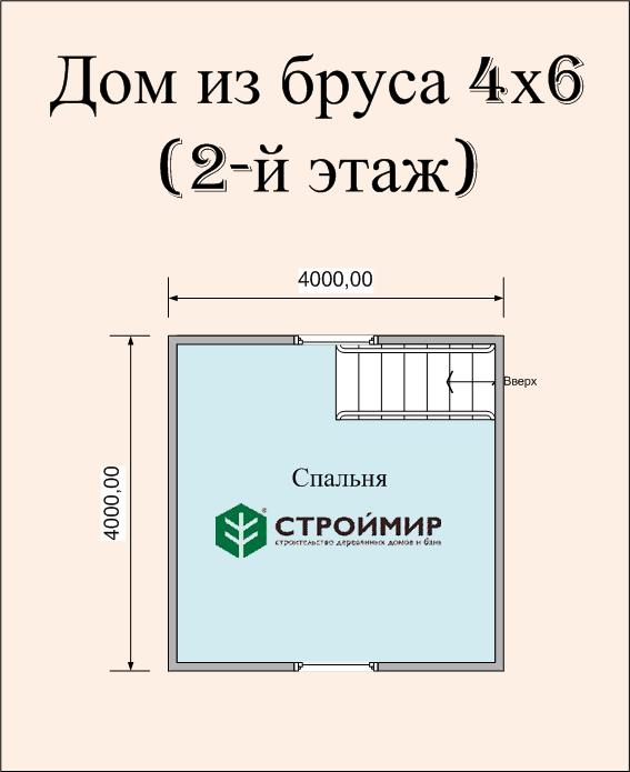 Дом 4х6 из бруса по проекту (Д-21)
