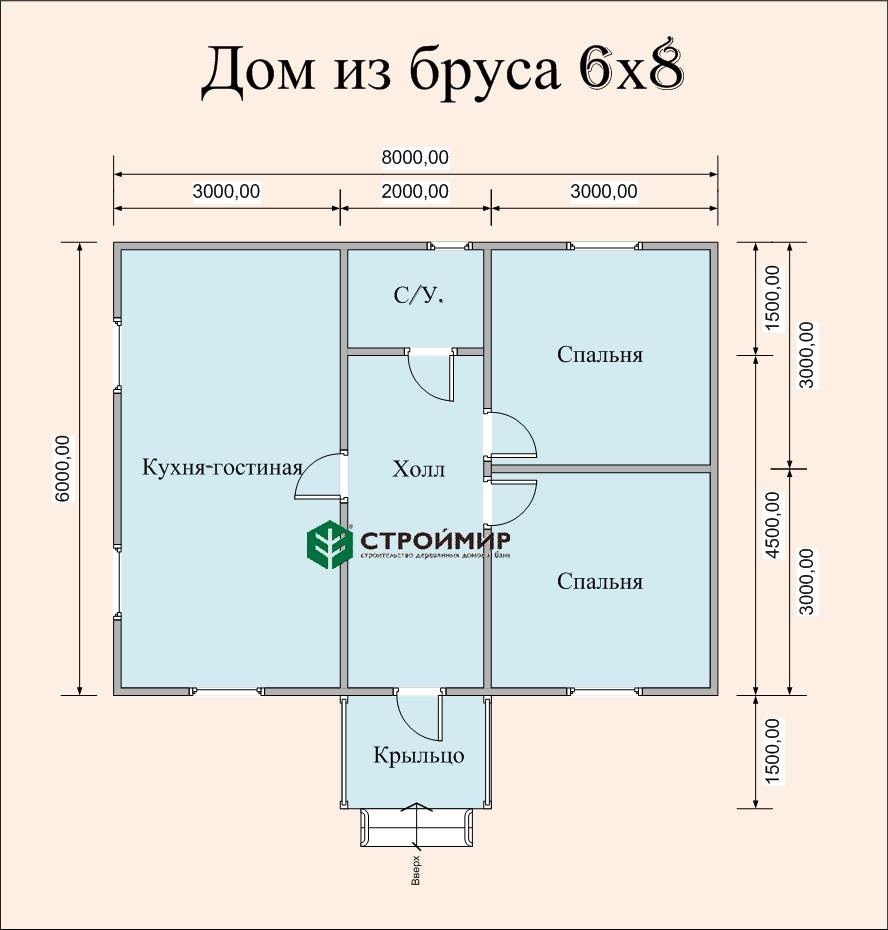 Одноэтажный дом из бруса 6х8 по проекту Д-3