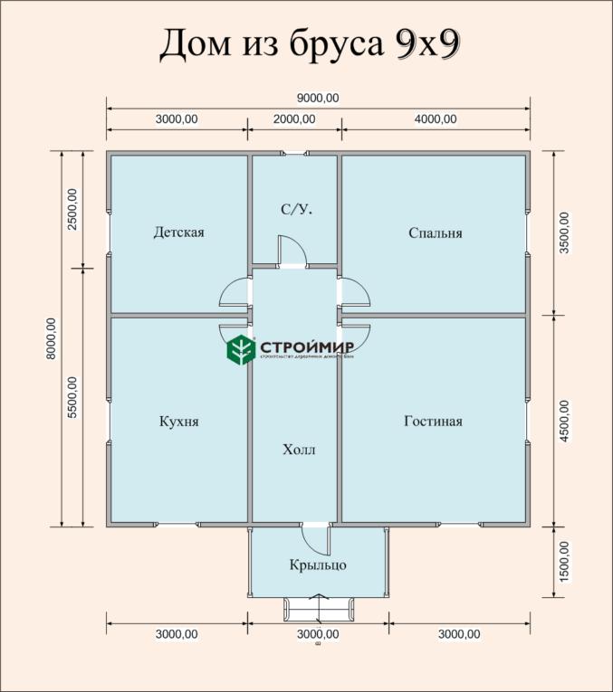 Одноэтажный дом из бруса 9х8 по проекту Д-6