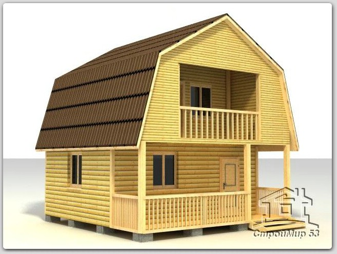 строительство дома 6х6 из бруса с балконом