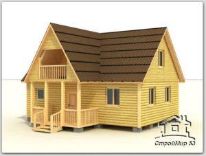 Деревянный дом 8х8 (проект Д-38)