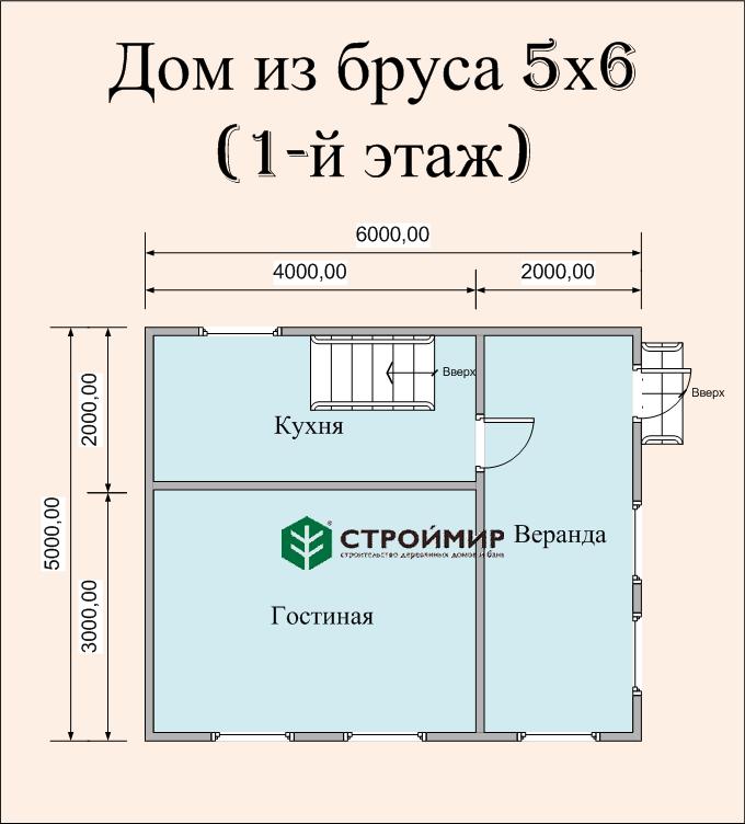 Дом 5х6 из бруса по проекту (Д-26)