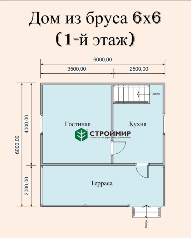 Брусовой дом 6х6 по проекту (Д-28)