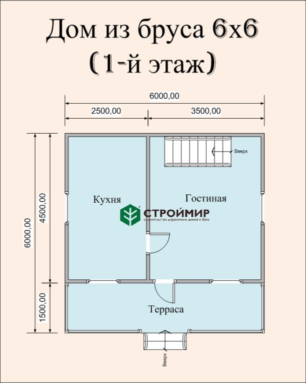 Дачный дом 6х6 из бруса по проекту (Д-30)