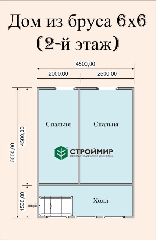 Дом деревянный 6х6 по проекту (Д-36)