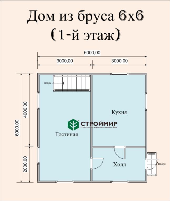 Дом 6х6 из бруса по проекту (Д-39)