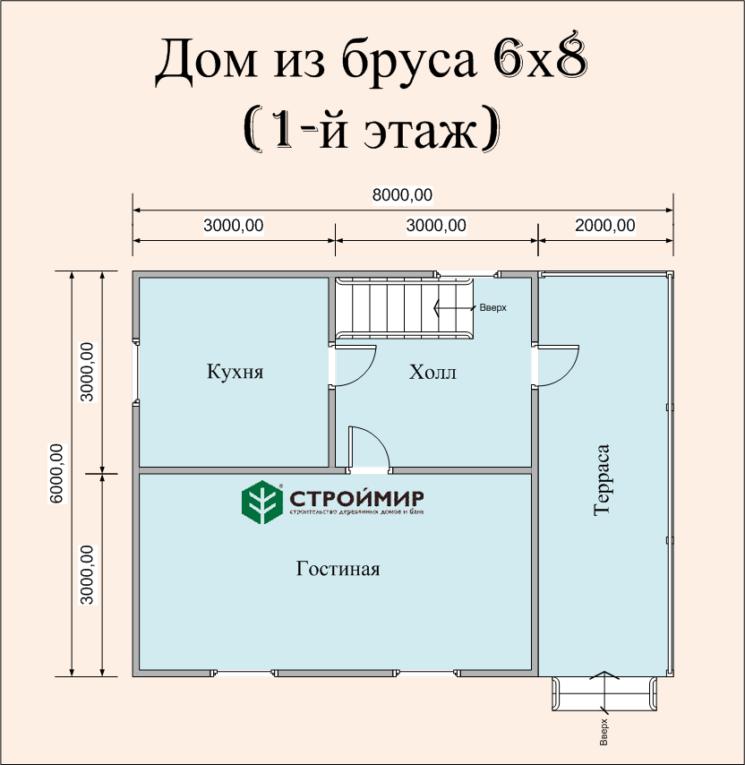 Дом из бруса 6х8 по проекту (Д-41)