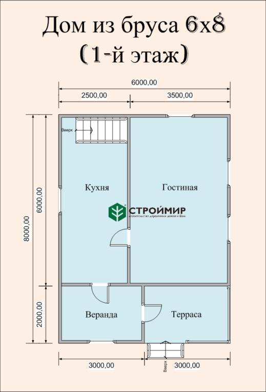Дом из бруса 8х6 по проекту (Д-46)