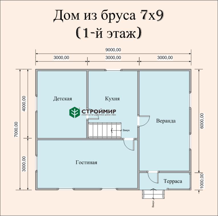 Дом 7х9 из бруса по проекту (Д-50)