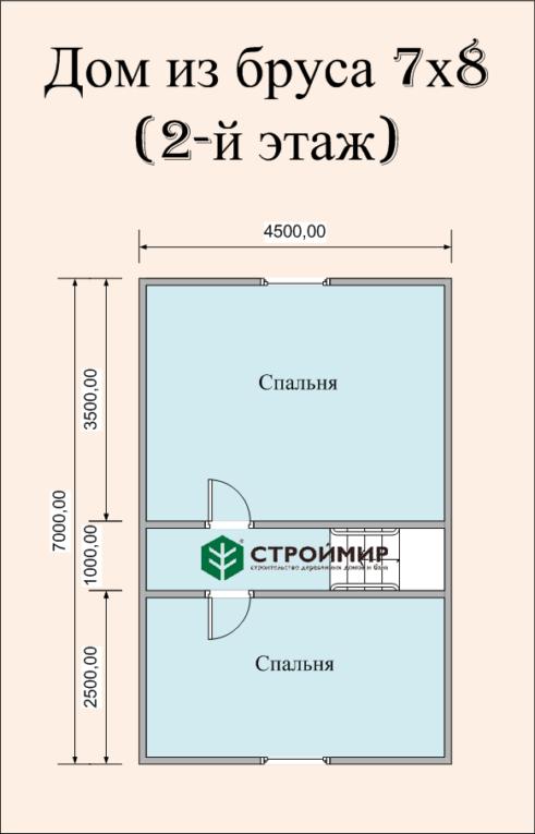 Дом 7х8 из бруса по проекту (Д-51)
