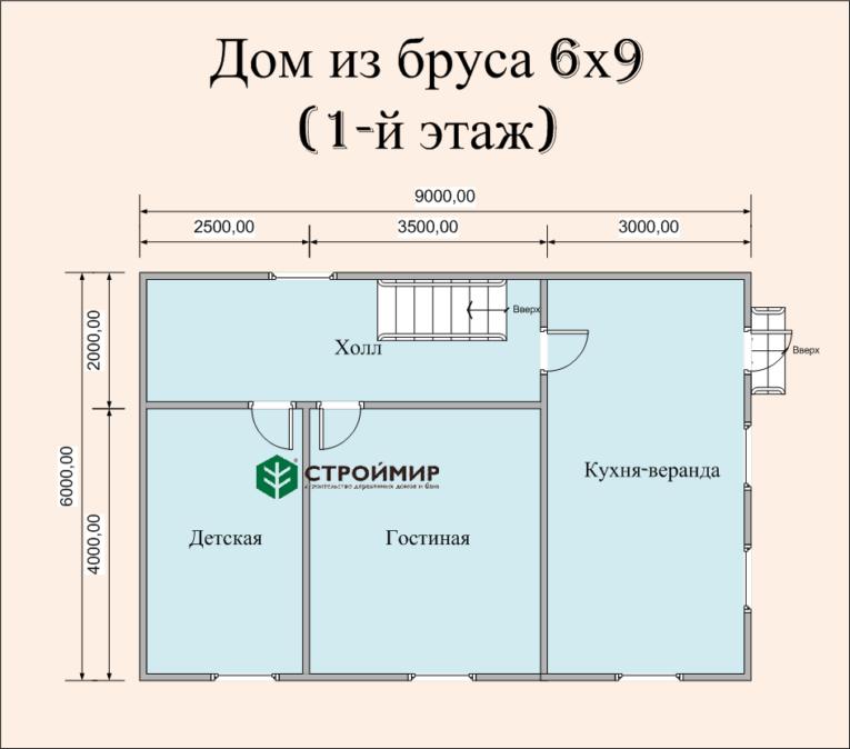 Дом 6х9 из бруса по проекту (Д-53)