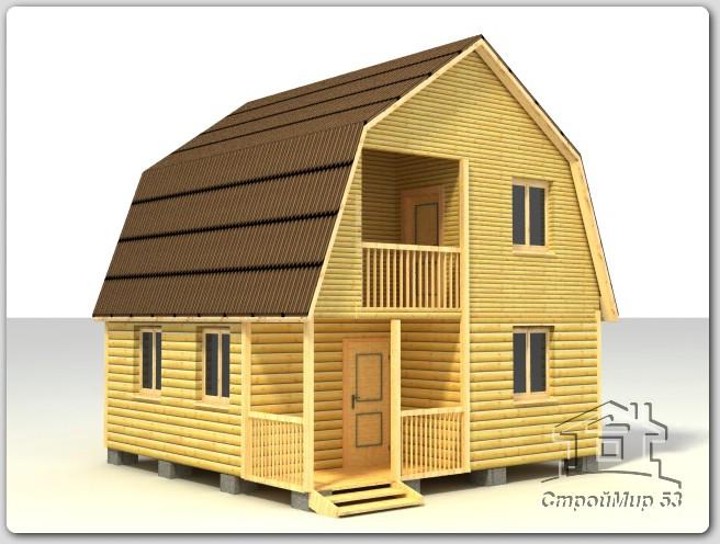 Деревянный дом с балконом (Д-34)