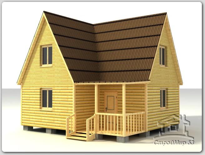Дом из бруса 6х7 по проекту (Д-45)