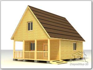 Дом из бруса 6х8 с террасой по проекту (Д-48)