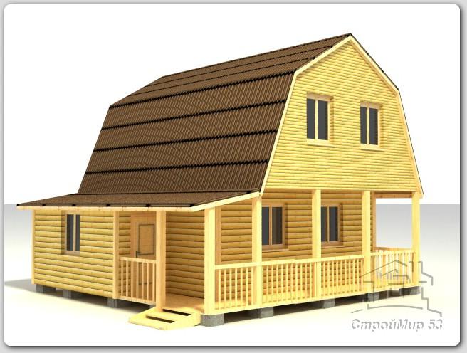 Дом из бруса 7,5х7,5 по проекту (Д-49)