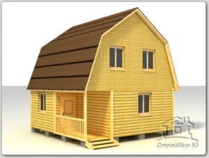 Дом из профилированного бруса 6х6 по проекту (Д-35)