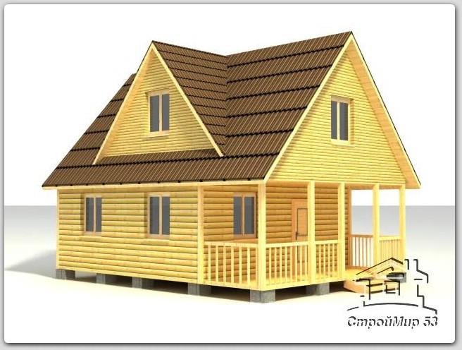 Дом с мезонином из бруса размером  6х8 (Д-67)