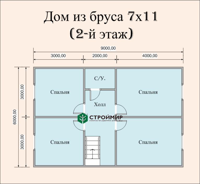 Дом из бруса 7х11 по проекту (Д-56)