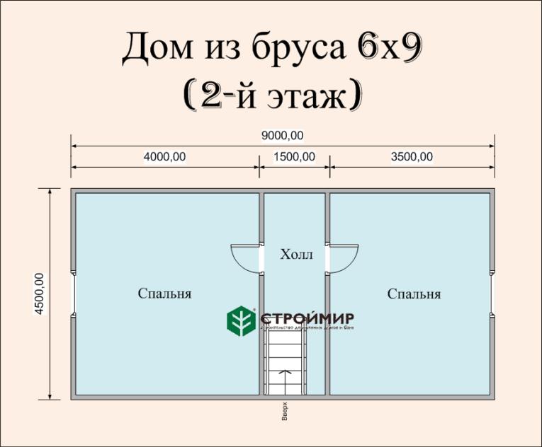Дом 9х6 из бруса с мансардой (Д-57)