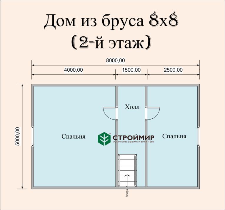 Проект дома 8х8 из бруса под ключ (Д-58)