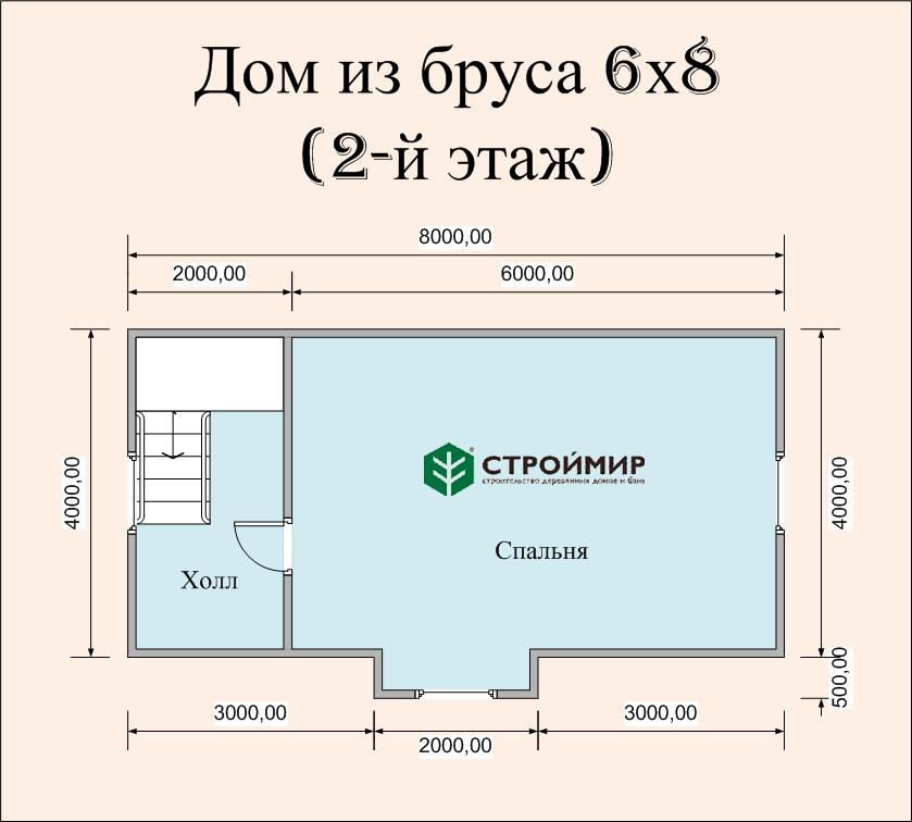 Дом из профилированного бруса 6х8 (Д-65)